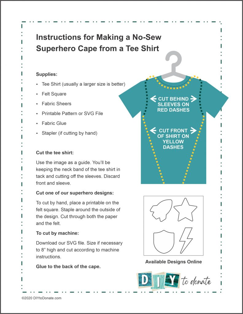 instructions for making a no-sew superhero cape from a tee shirt