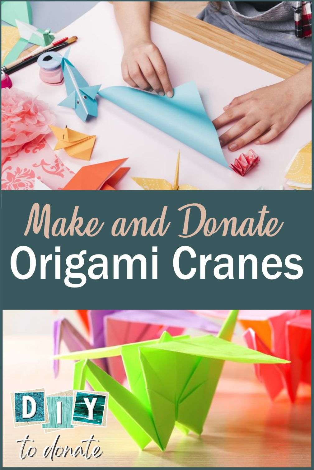 For centuries the crane has been regarded as a symbol of hope and healing. Follow our easy origami tutorial to make cranes. Find out where to donate them. #diytodonate #donate #origami #givingback #donate #cranes