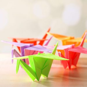 Make origami cranes to donate