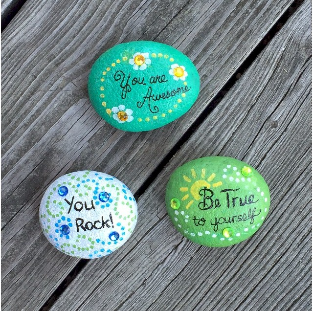 Painting Rocks with Inspirational Quotes