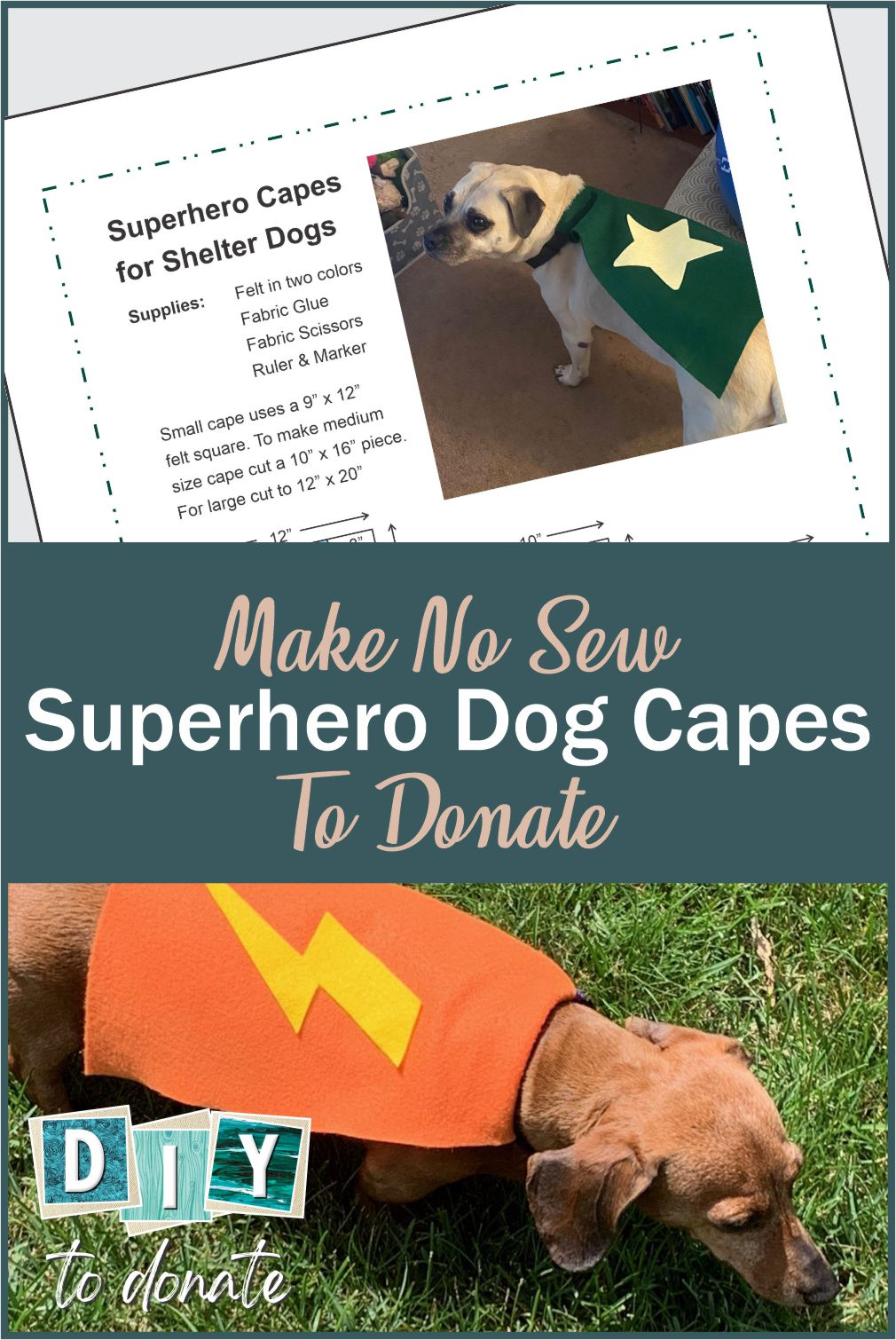 No-Sew Capes For Dogs When you make and donate no-sew capes for dogs, you're giving those dogs in shelters a little extra chance of being adopted. #diytodonate #diy #donate #dogcapes #crafts #craftstodonate #petadoptions #animalshelters