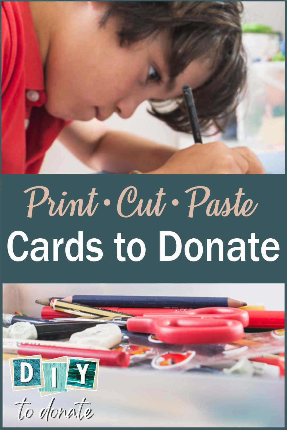 Making cards for hospitalized kids is a rewarding way to introduce your children to community service. Use our free printables for fun cut and paste cards. #diytodonate #diy #printables #giving #donate #cards #smiles #communityservice #freeprintables #rewarding