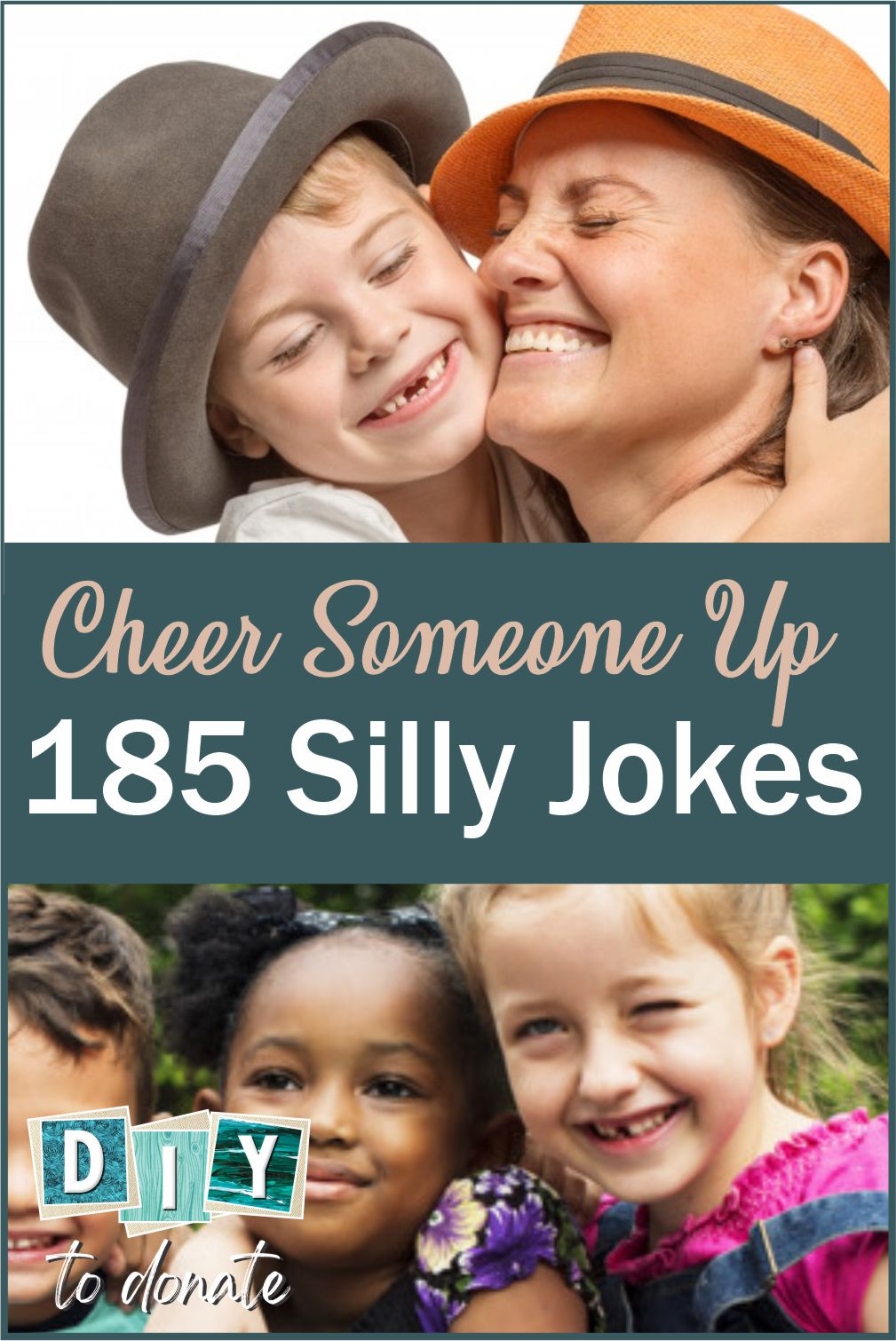 Add silly jokes to a card or a letter and send to someone who might need cheering up like hospitalized kids or those who receive Meals on Wheels. #diytodonate #donate #diy #jokes #sillyjokes #laugh #smile #besilly #cheer