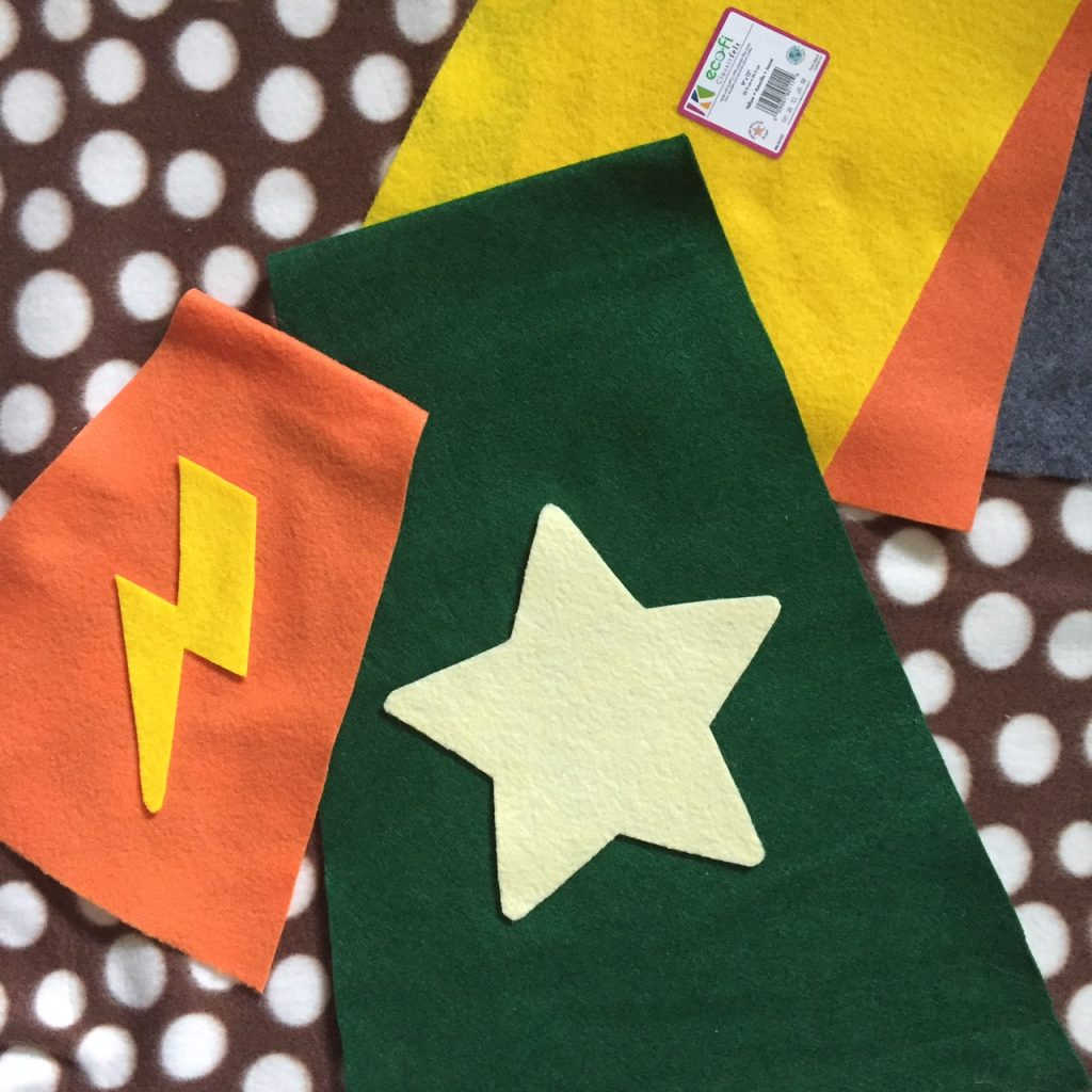 No-sew superhero capes for dogs.