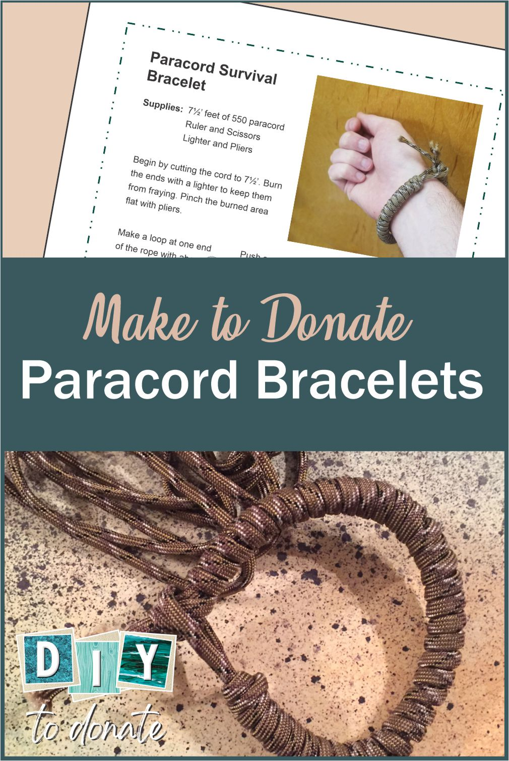 Make paracord bracelets and donate them to our troops. We have step-by-step illustrated instructions, a video and a pdf instruction sheet to make it easy. #diytodonate #diy #donate #troops #supportourtroops #crafts