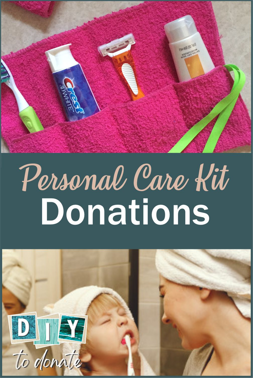 Personal Care Kits to Donate Learn how to make easy DIY travel pouches for displaced people and find out where you can donate them to help someone in need. #diytodonate #carekit #DIY #travelpouches #washclothes #donate #personalcare