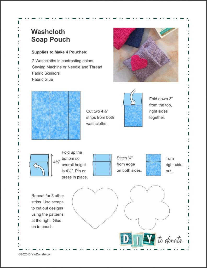 Printable soap saver pouch project sheet