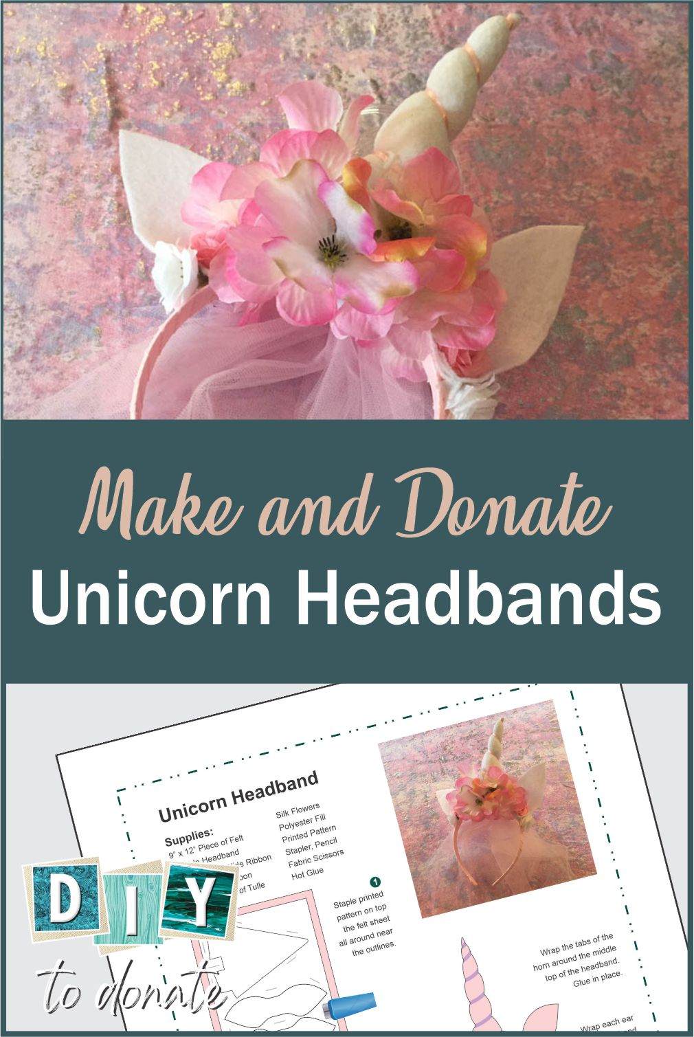 Find out the best way to make your handmade unicorn headbands wear and to donate them to little girls who need a little magic in their lives. #diytodonate #diy #unicorns #unicorn #unicorncraft #unicornheadband #headband #unicornhorm #littlegirls #magic #donate