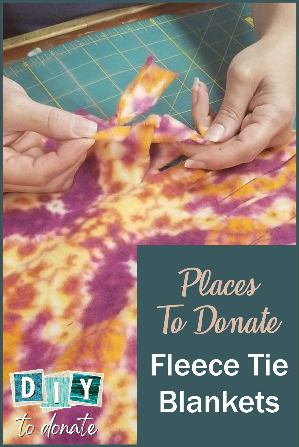DIY Tie Fleece Blankets and Where To Donate Your group can make a donate fleece tie blankets as a community service project. It's easy enough for kids as young as 7 years old to participate. #diytodonate #fleeceblankets #donateblankets #tieblankets #communityservice #donate
