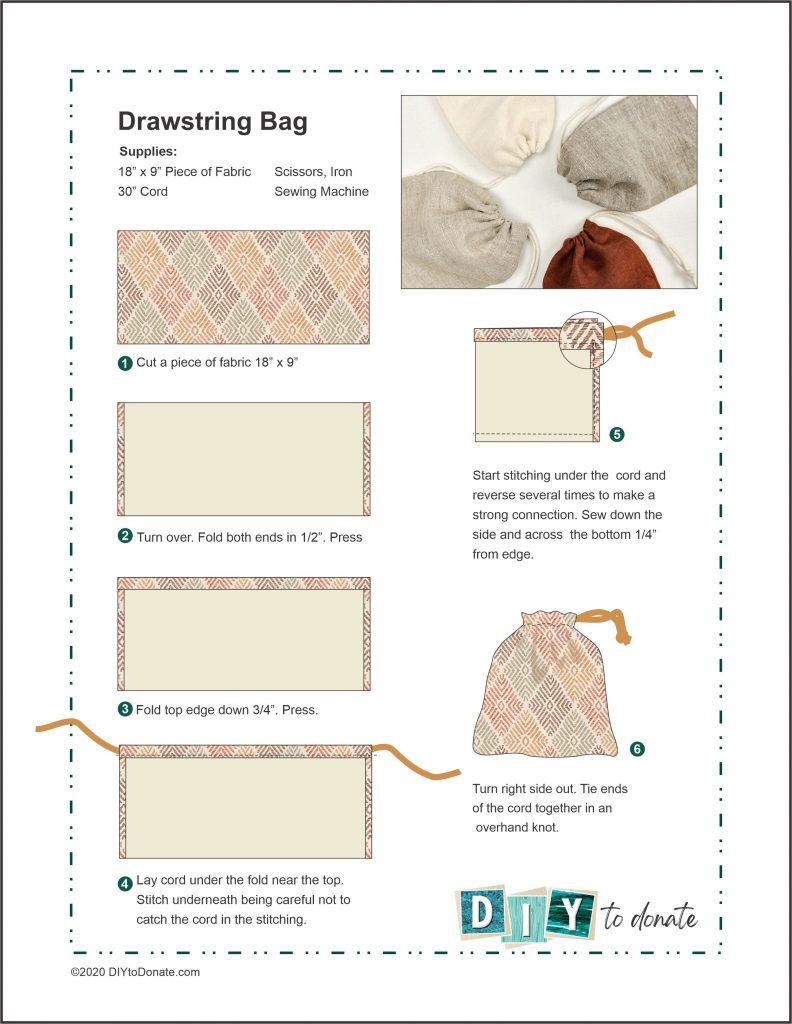 drawstring bag step by step