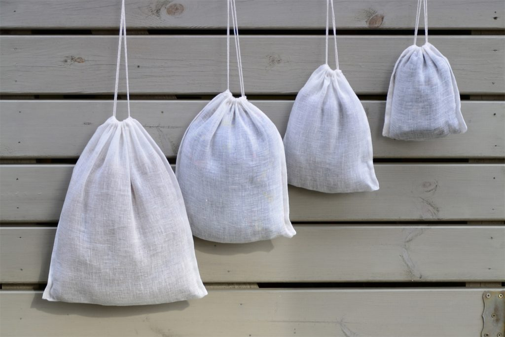 Make drawstring bags to donate in different sizes.