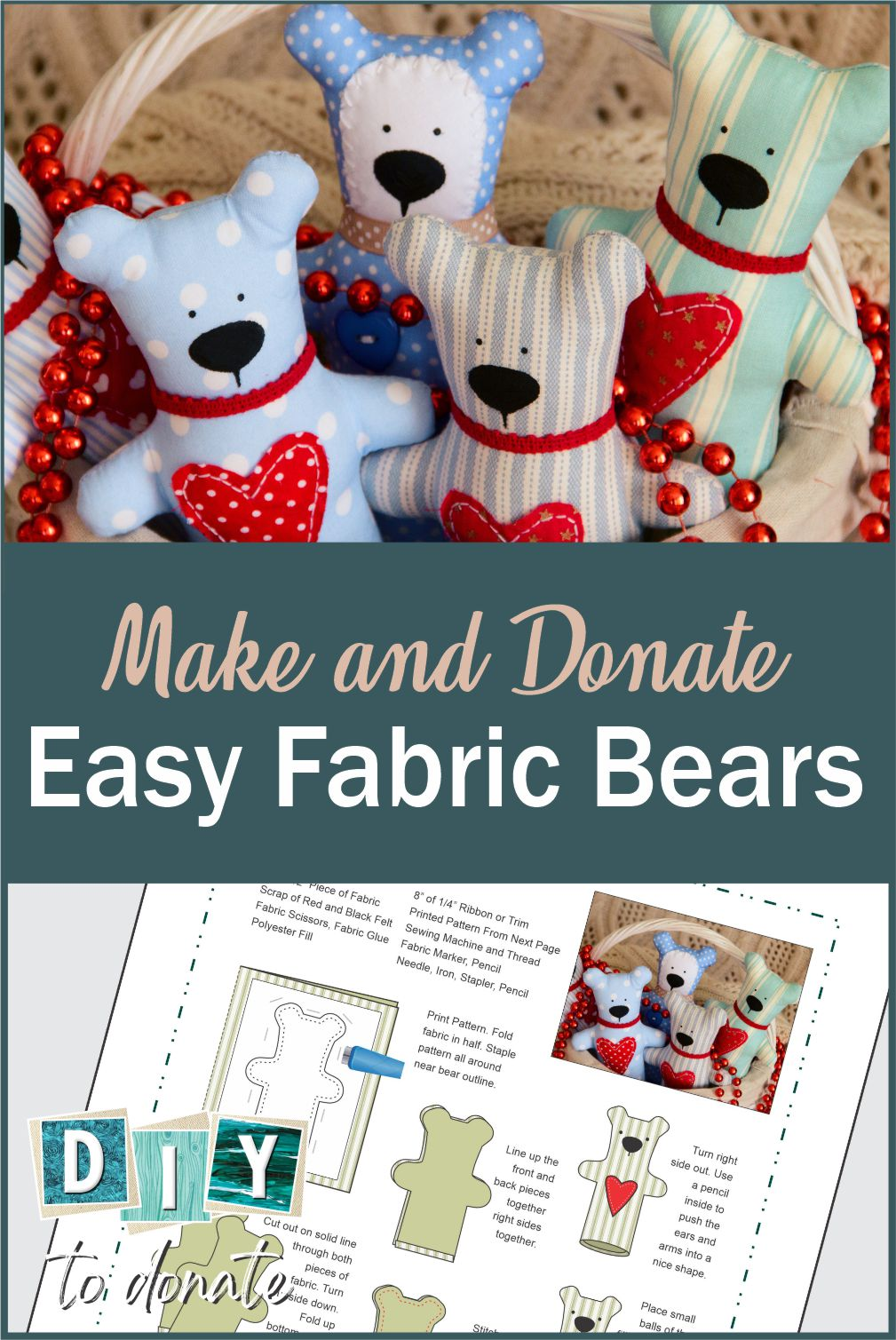 Kids can make super easy handmade bears to donate. Get our pattern or SVG file free and found out where you can donate to children in need. #diytodonate #diy #printable #handmade #bear #handmadebear #giveback #donate #helpers #advocate #kids
