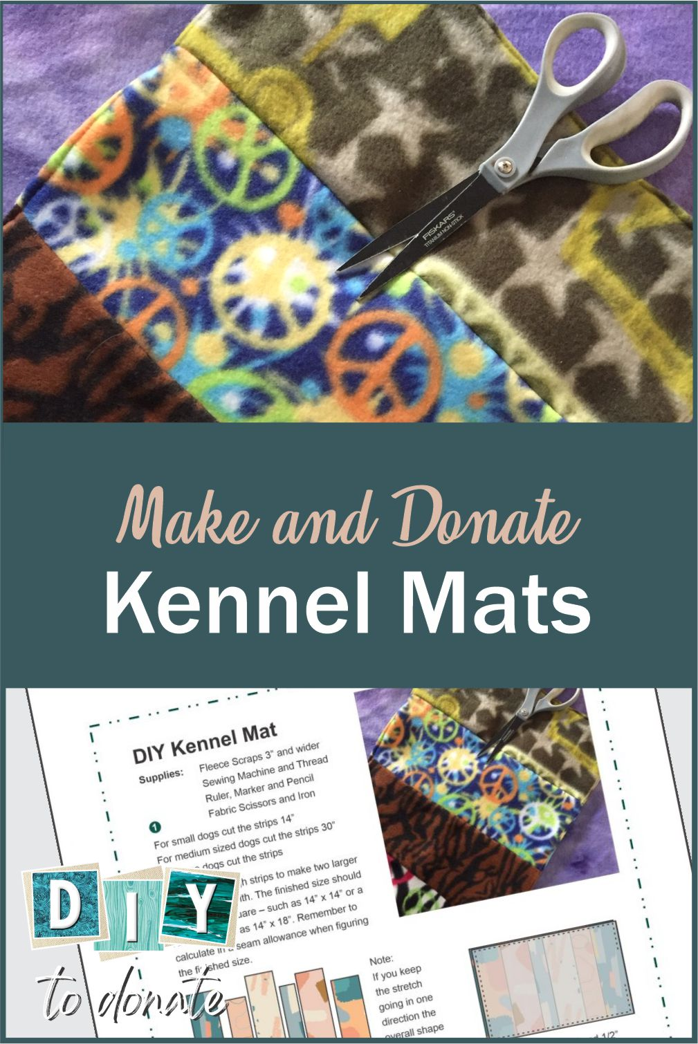 Round up fleece scraps and make kennel mats for animal shelters. They are easy to make for beginner sewers and will cost you nothing to make. #diytodonate #diy #donate #animalshelters #shelters #animals #pets #sewing #communityservice #community