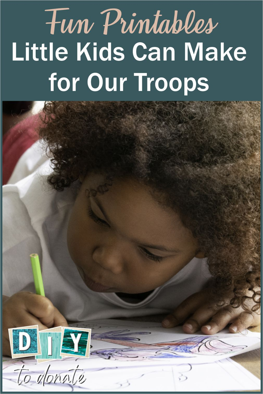 6 Fun Things Little Kids Can Make for our Troops It's never to early to introduce your children to community service. Even preschoolers can learn to give back by drawing or coloring pictures to make for our troops. #militaryheroes #drawing #coloring #writing #diytodonate