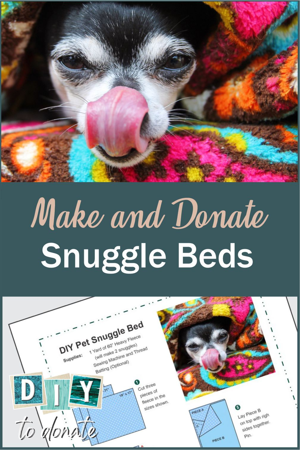 Download our PDF project sheet to learn how to make snuggle beds and where you can donate them to comfort animals in shelters. #diytodonate #animalshelters #comfortbeds #animalbeds #diy #giveback #helpers #communityservice #community