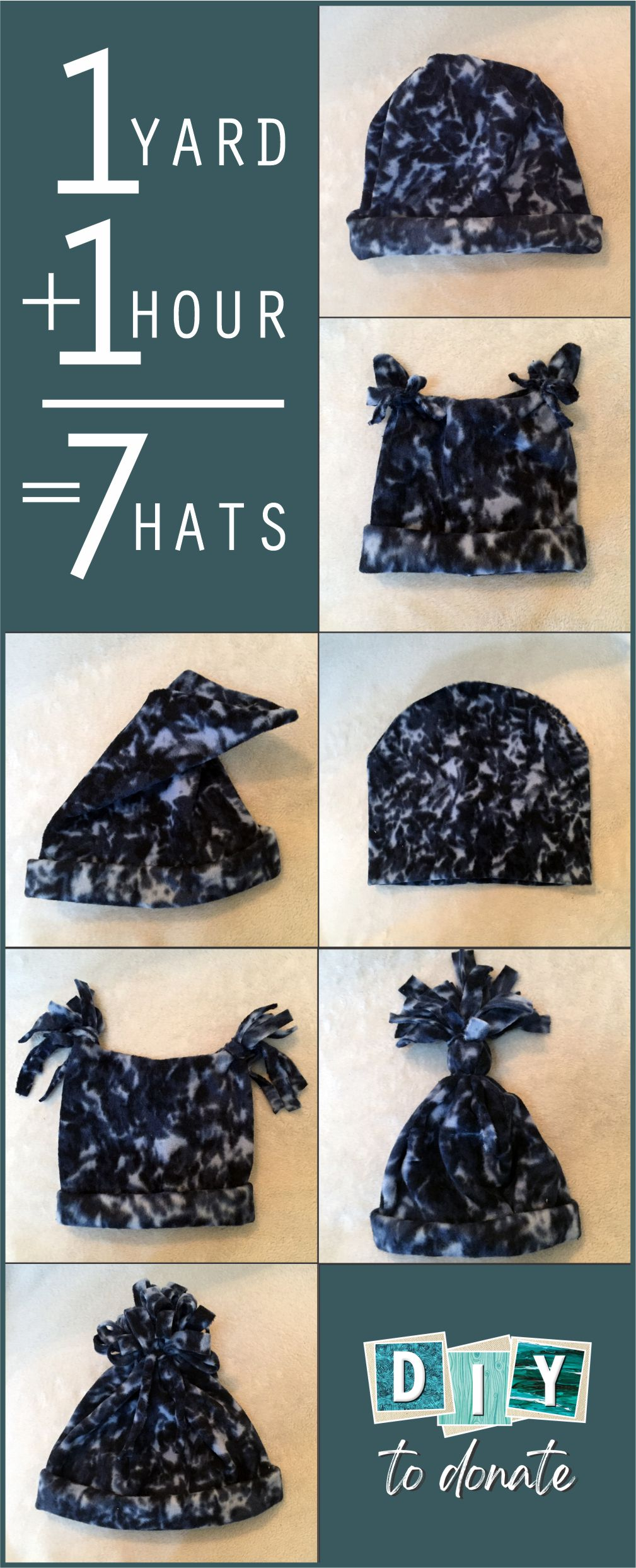 "You really can make seven hats with one yard of 60"" fleece. Download our free printable to seven different hats to donate. #diytodonate #fleecehats #fleece #hats #handmade #freeprintable #donate #diy #giveback #communityservice"