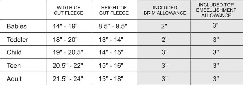 DIY Fleece Hat Size Table