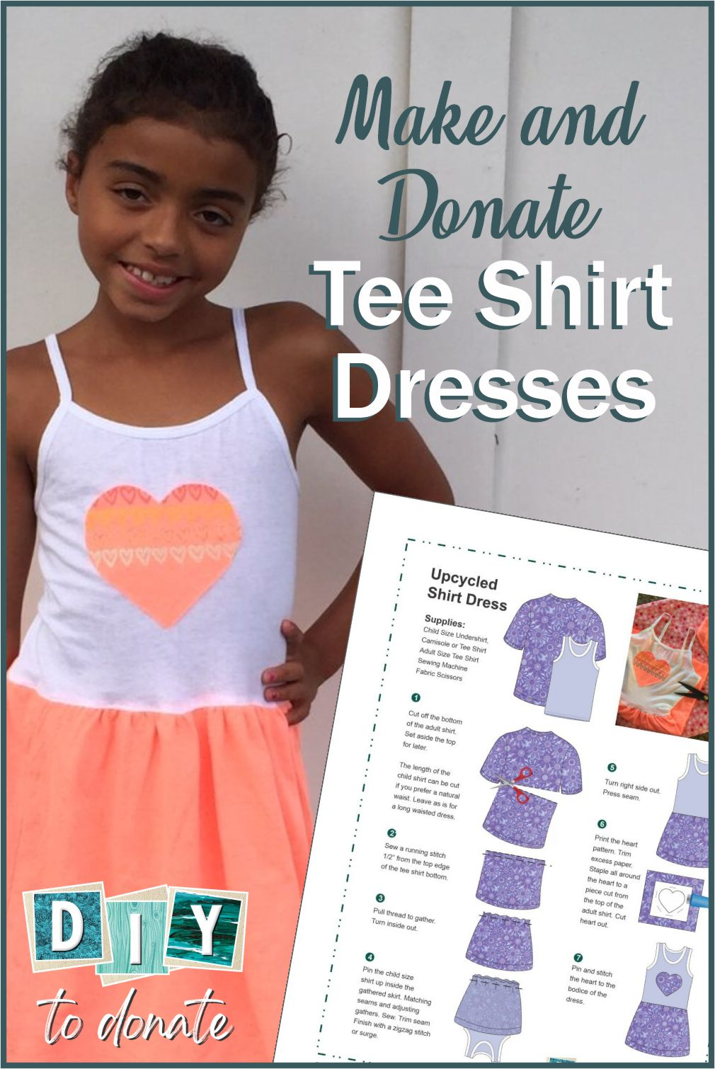 Easy step-by-step tutorial for making tee shirt dresses from two tee shirts. No other supplies needed. Free PDF Download Included. #diytodonate #tshirtdresses #dresses #handmade #dresses #tutorial #printable #freeprintable #tshirts #maketodonate