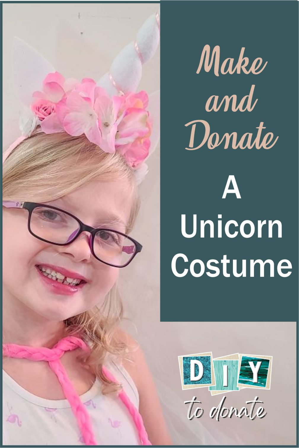 Instructions to make a unicorn dress up costume including a headband, cape, purse and more. Make extra to donate to girls in need. #diytodonate #unicorns #unicorndressup #dressup #donatecostumes #diy #donate #giveback #unicorncostume #diyunicorncostume #helpers #fun #kidsdressup