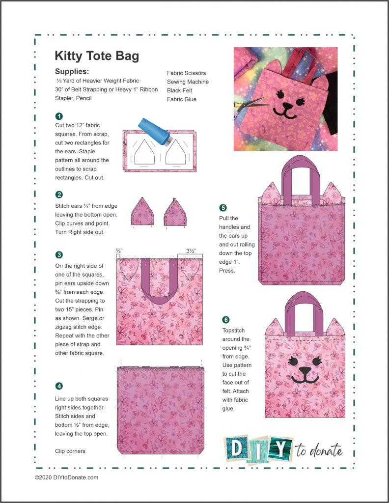 PDF DIY cat face tote bag instructions