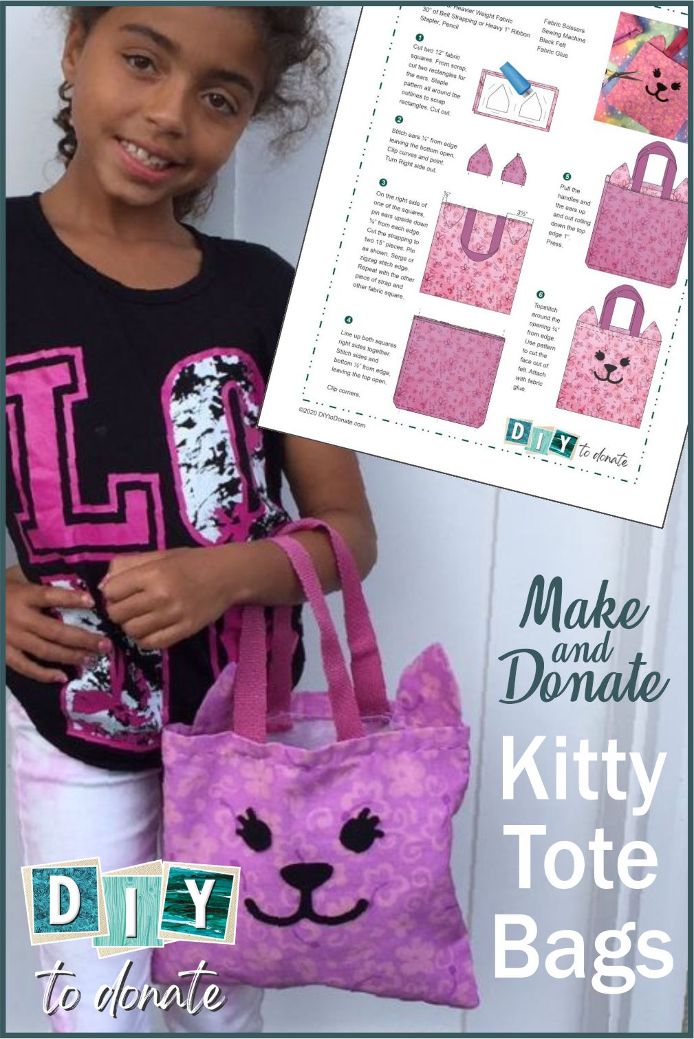 So cute and sew easy, this DIY cat face tote is something beginner sewers can make. We have free PDF pattern and SVG file. #diytodonate #diy #communityservice #donate #donation #giveback #freepdf #freesvg #community #communityhelpers