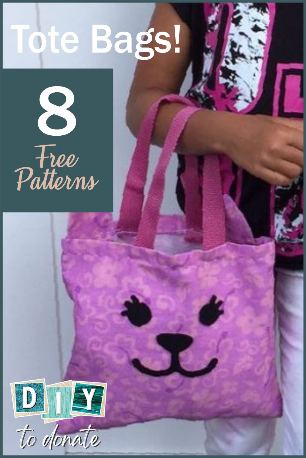 Choose from no sew DIY totes bags. totes from recycled products and easy sewing and crotchet totes. Make them for your favorite charity. #diytodonate #diy #donate #totebagstodonate #totebags #donation