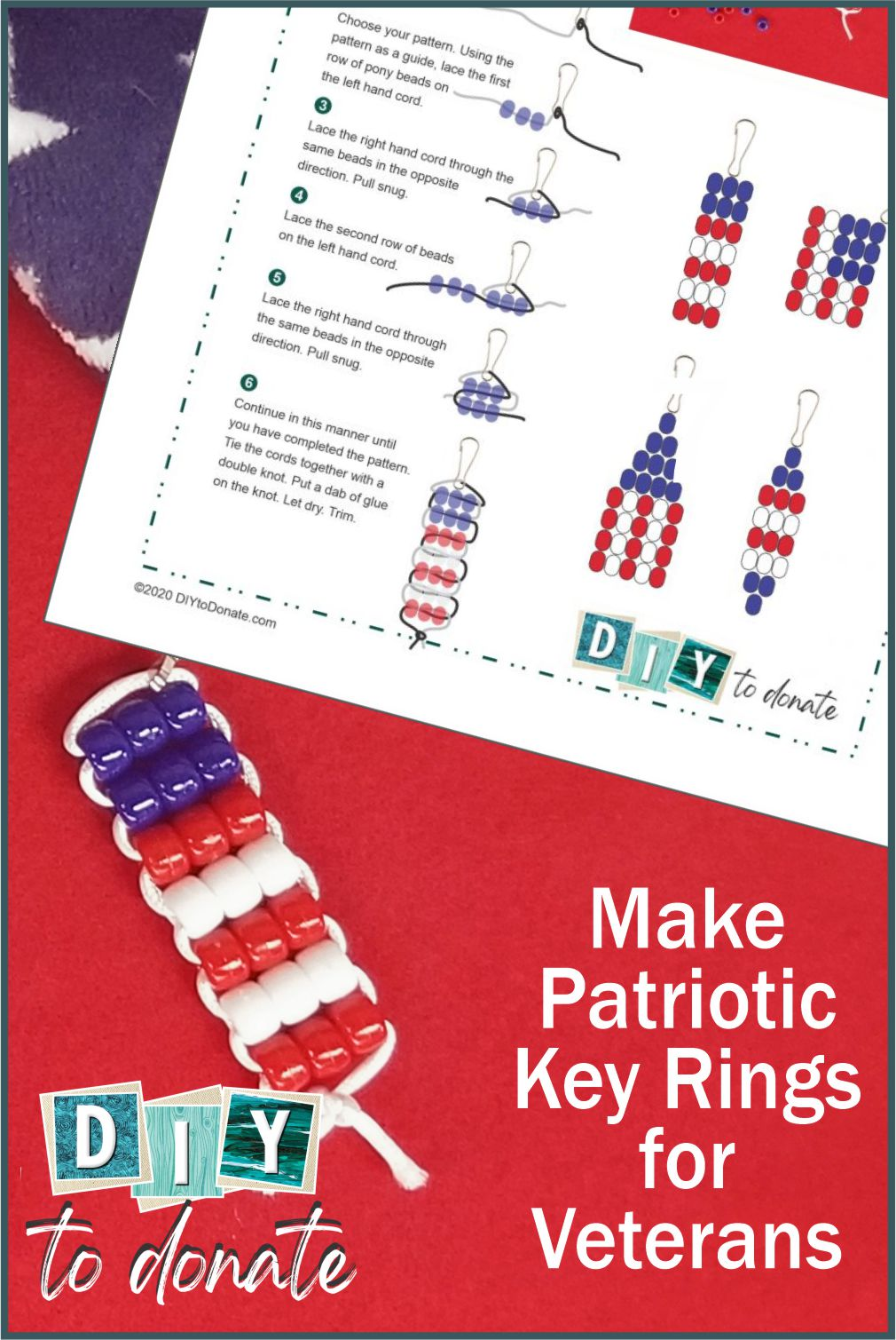 Looking for something the kids can make for our military? Four styles to choose from with a free printable PDF instruction page. #diytodonate #diymilitary #diy #donatetothemilitary #keyrings #diykeyrings #freeprintables #printable #freediyprintable