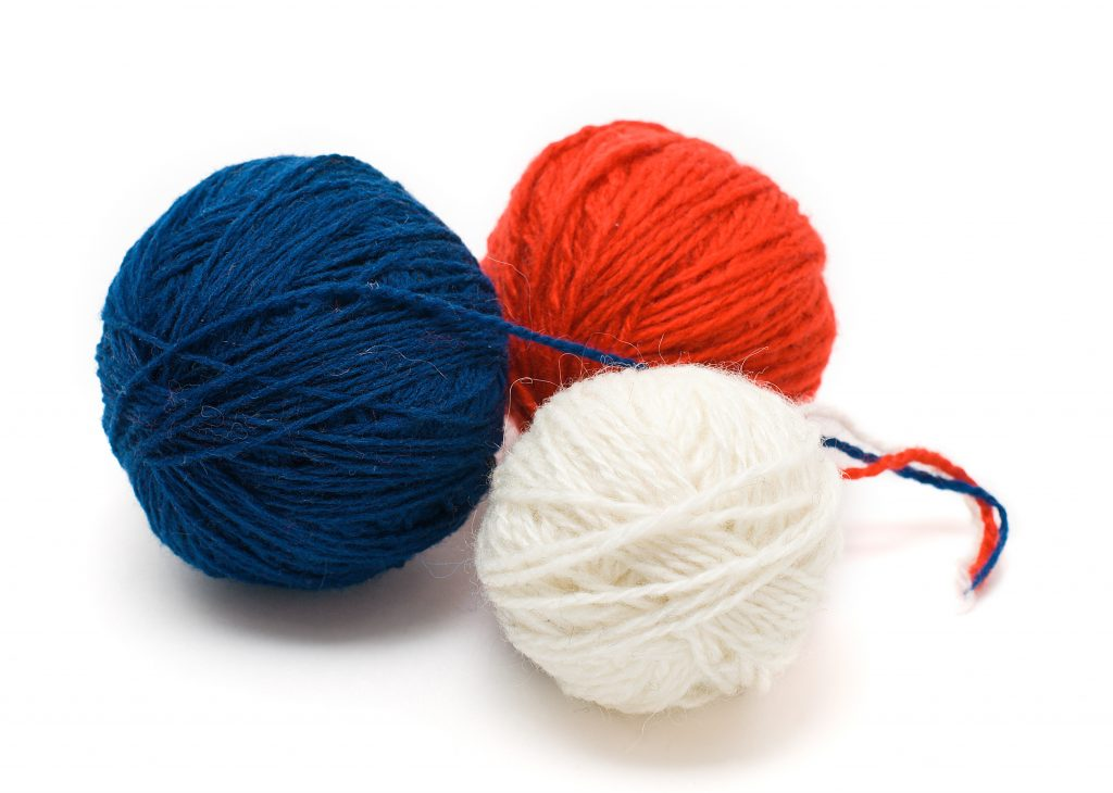 Red, White and Blue Yarn to Make Patriotic Scarf to Donate
