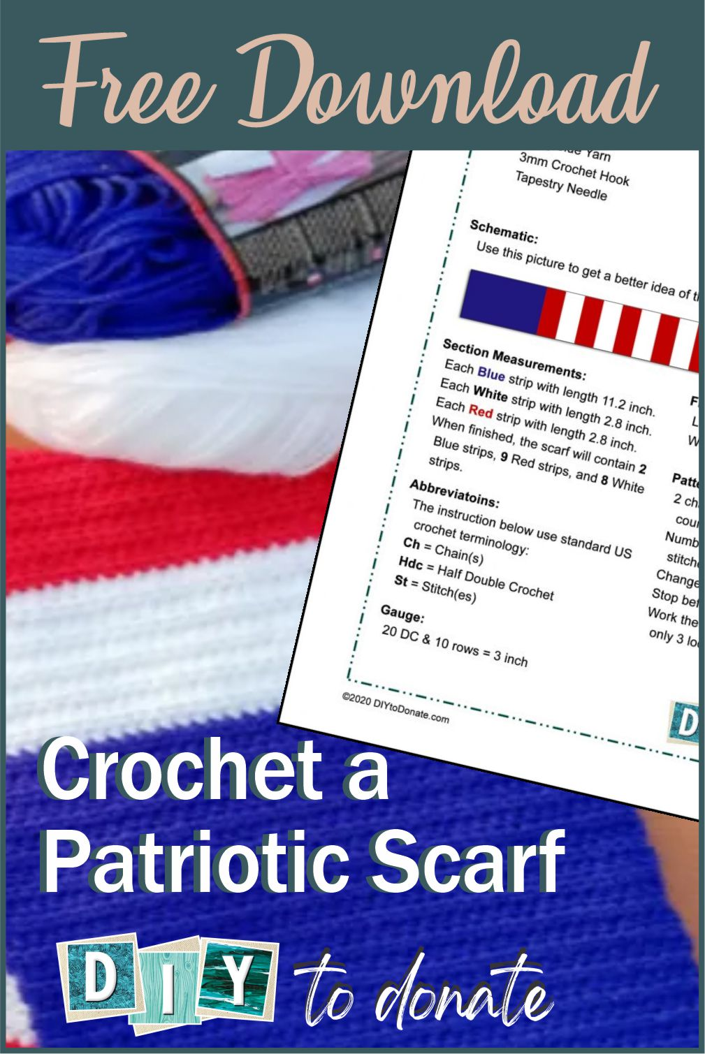 Easy patriotic scarf with illustrated step-by-step instructions and free printable PDF to download. Find out where to donate your scarves. #diytodonate #scarf #diyscarf #diy #patrioticscarf